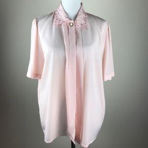 VTG Susan Hutton Cutout Collar Blouse